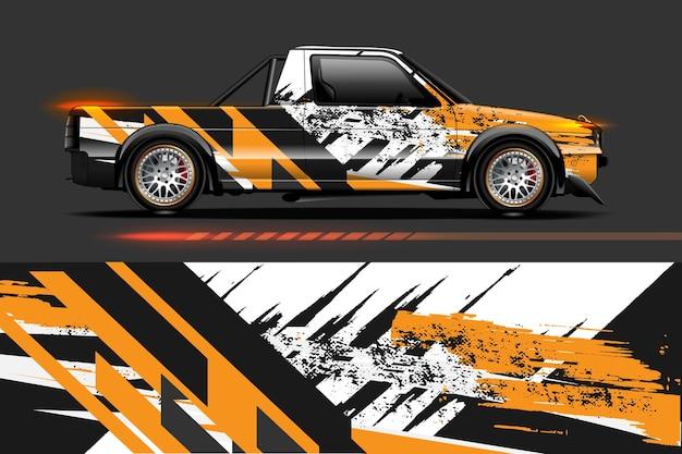 Projekt oklejenia samochodu z paskiem i abstrakcyjnym wzorem grunge
