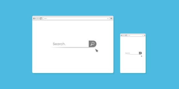 Projekt okna szablonu przeglądarki na komputer lub telefon