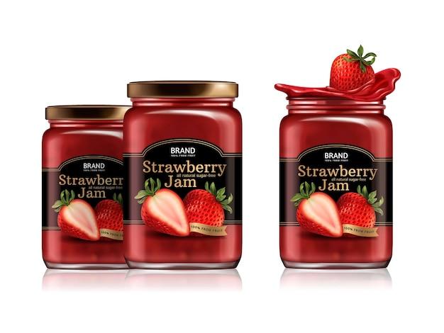 Projekt opakowania dżemu truskawkowego, szklany słoik z zaprojektowaną etykietą i świeżymi owocami
