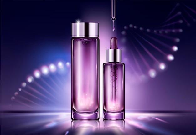 Projekt opakowania kosmetycznego przeciw starzeniu się ze świecącą strukturą helisy za butelkami w stylu 3d