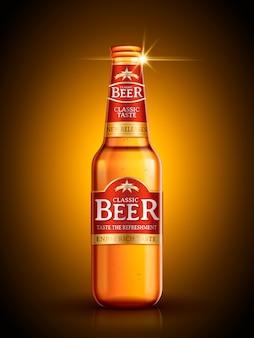 Projekt opakowania piwa na białym tle złote tło