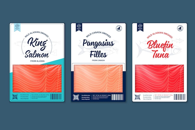 Projekt opakowania ryb płaski wektor. ilustracje łososia, panga, tuńczyka i tekstury mięsa ryb