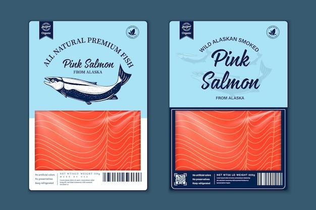 Projekt opakowania ryb płaski wektor. ilustracje ryb z łososia, pstrąga, tuńczyka i mintaja oraz tekstura mięsa rybnego do pakowania, łowisk, reklamy itp.