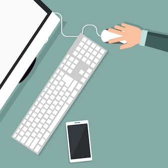 Projekt osoby pracującej na komputerze w widoku z góry