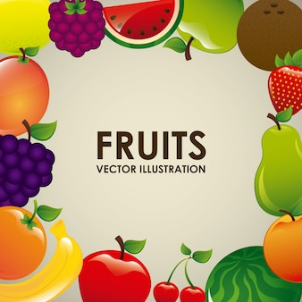 Projekt owoców na białym tle ilustracji wektorowych