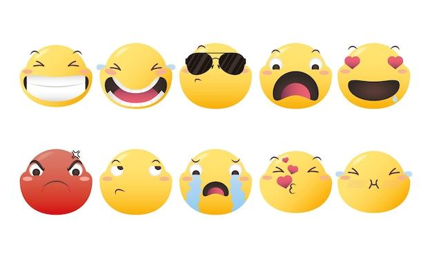 Projekt pakietu ikon emoji, ekspresja emotikonów i motyw mediów społecznościowych ilustracja wektorowa
