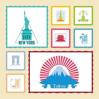 Projekt pakietu ikon światowego miasta znaczków, turystyka podróżnicza i ilustracja motywu wycieczki