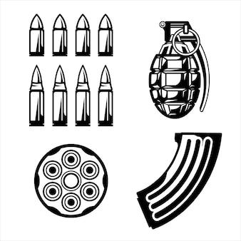 Projekt pakietu wojennego czarny i biały