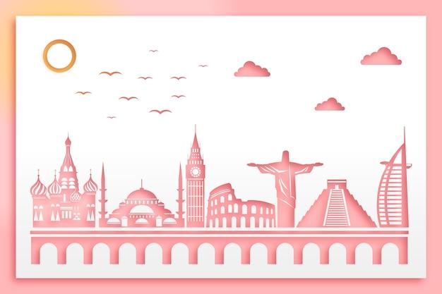 Projekt panoramę zabytków w stylu papieru