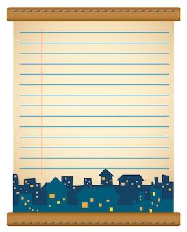 Projekt papieru z domami w nocy