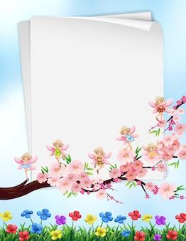 Projekt papieru z kwiatami i wróżkami
