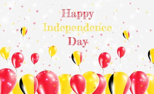 Projekt patriotyczny dzień niepodległości belgii. balony w belgijskich barwach narodowych. szczęśliwy dzień niepodległości wektor kartkę z życzeniami.
