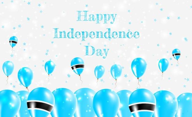 Projekt patriotyczny dzień niepodległości botswany. balony w barwach narodowych motswany. szczęśliwy dzień niepodległości wektor kartkę z życzeniami.