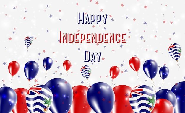Projekt patriotyczny dzień niepodległości brytyjskiego terytorium oceanu indyjskiego. balony w indyjskich barwach narodowych. szczęśliwy dzień niepodległości wektor kartkę z życzeniami.