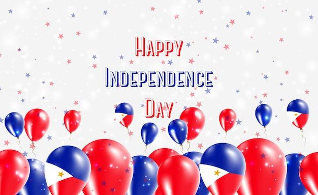 Projekt patriotyczny dzień niepodległości filipin. balony w barwach narodowych filipin. szczęśliwy dzień niepodległości wektor kartkę z życzeniami.