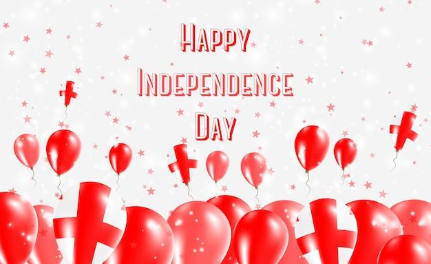Projekt patriotyczny dzień niepodległości gruzji. balony w gruzińskich barwach narodowych. szczęśliwy dzień niepodległości wektor kartkę z życzeniami.