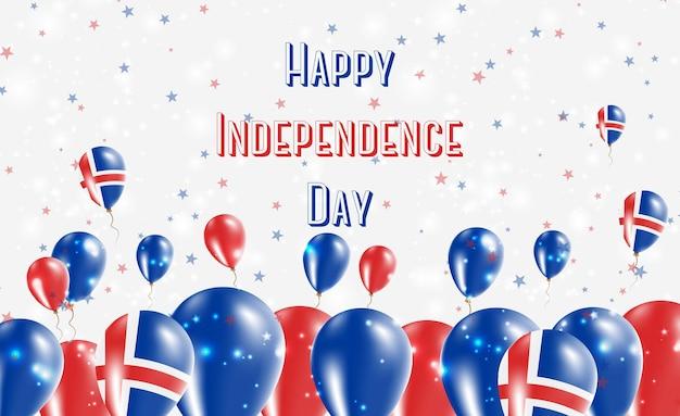 Projekt patriotyczny dzień niepodległości islandii. balony w barwach narodowych islandii. szczęśliwy dzień niepodległości wektor kartkę z życzeniami.
