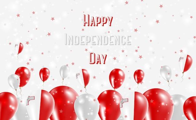 Projekt patriotyczny dzień niepodległości malty. balony w maltańskich barwach narodowych. szczęśliwy dzień niepodległości wektor kartkę z życzeniami.