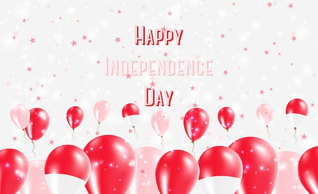 Projekt patriotyczny dzień niepodległości monako. balony w barwach narodowych monako. szczęśliwy dzień niepodległości wektor kartkę z życzeniami.