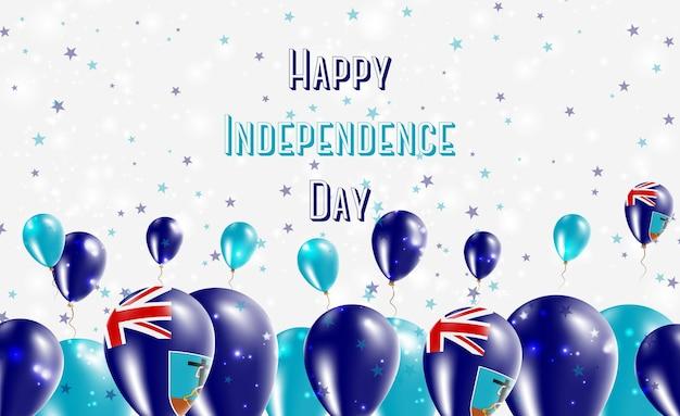 Projekt patriotyczny dzień niepodległości montserrat. balony w barwach narodowych montserratian. szczęśliwy dzień niepodległości wektor kartkę z życzeniami.