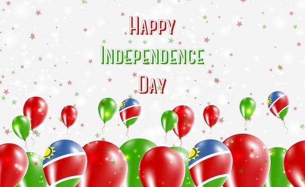 Projekt patriotyczny dzień niepodległości namibii. balony w barwach narodowych namibii. szczęśliwy dzień niepodległości wektor kartkę z życzeniami.