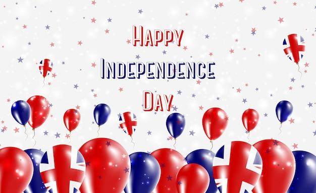 Projekt patriotyczny dzień niepodległości wielkiej brytanii. balony w brytyjskich barwach narodowych. szczęśliwy dzień niepodległości wektor kartkę z życzeniami.