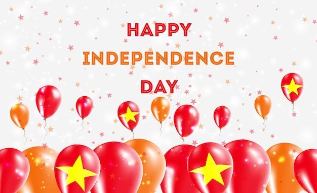 Projekt patriotyczny dzień niepodległości wietnamu. balony w wietnamskich barwach narodowych. szczęśliwy dzień niepodległości wektor kartkę z życzeniami.