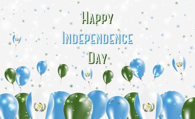 Projekt patriotyczny gwatemali dzień niepodległości. balony w barwach narodowych gwatemali. szczęśliwy dzień niepodległości wektor kartkę z życzeniami.