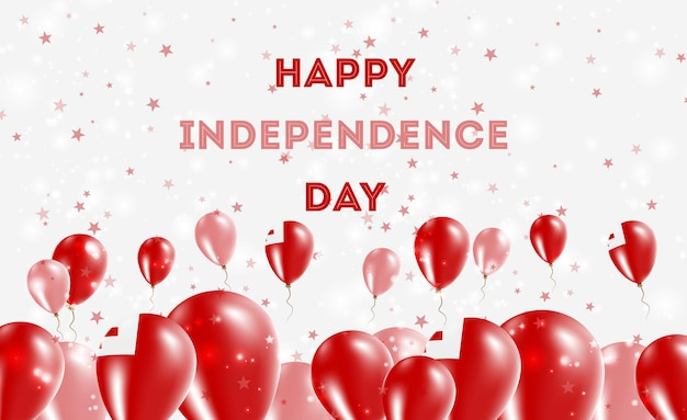 Projekt patriotyczny tonga dzień niepodległości. balony w barwach narodowych tonga. szczęśliwy dzień niepodległości wektor kartkę z życzeniami.