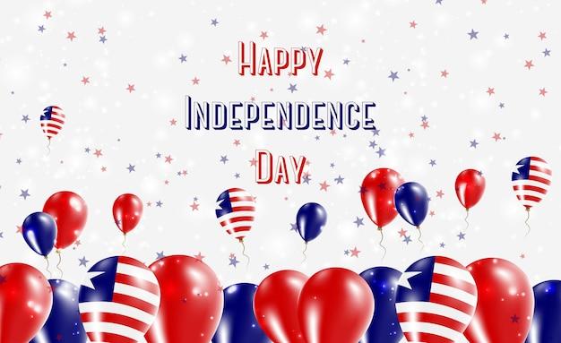 Projekt patriotyczny z okazji dnia niepodległości liberii. balony w barwach narodowych liberii. szczęśliwy dzień niepodległości wektor kartkę z życzeniami.