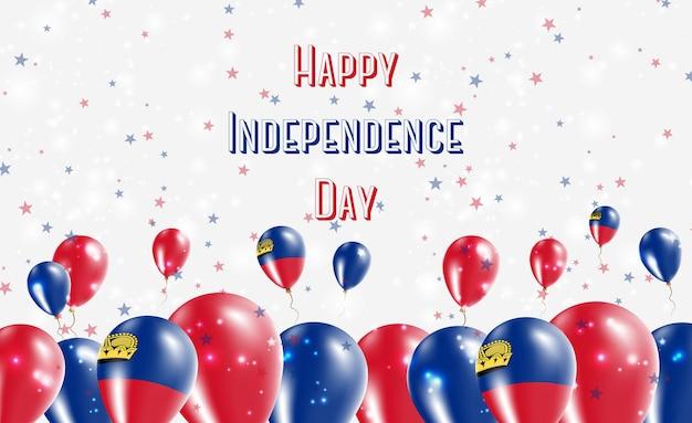 Projekt patriotyczny z okazji dnia niepodległości liechtensteinu. balony w barwach narodowych liechtensteinu. szczęśliwy dzień niepodległości wektor kartkę z życzeniami.