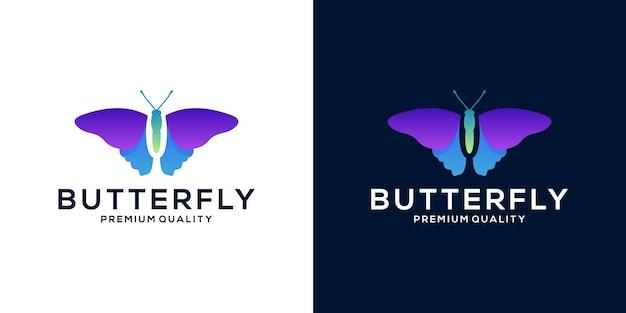 Projekt pełnego logo w kolorze motyla dla twojej marki