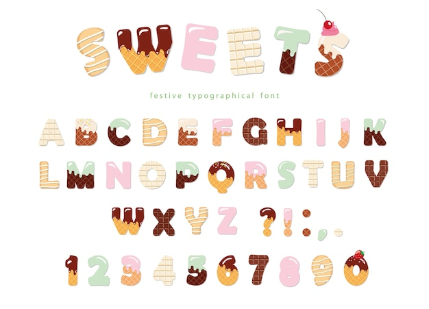 Projekt piekarni czcionki słodycze