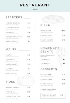 Projekt pionowego formatu menu cyfrowej restauracji