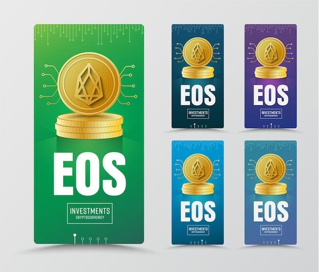 Projekt pionowych banerów ze złotą monetą kryptowaluty eoc i chipem.