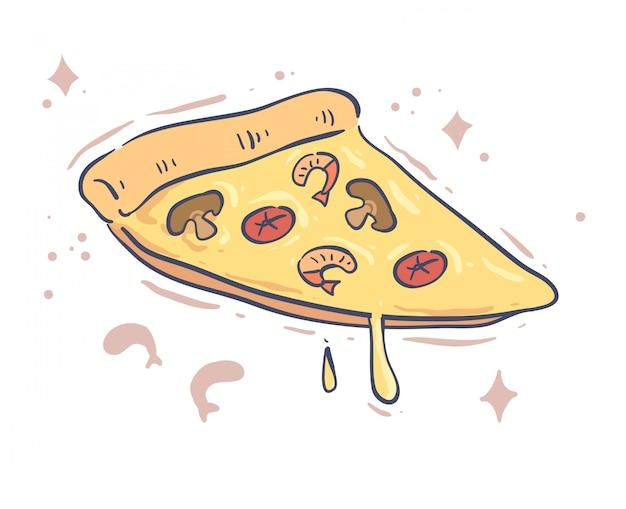 Projekt pizzy w stylu kreskówki. ilustracja wektorowa pizzy