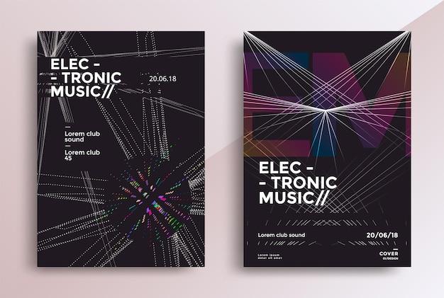 Projekt plakatów electronic music fest ulotka dźwiękowa z geometrycznymi kształtami linii