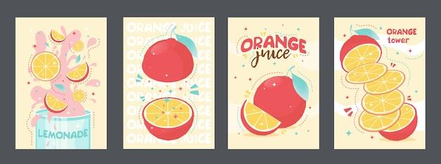 Projekt plakatów tropikalnych świeżych soków. pomarańcza, lemoniada
