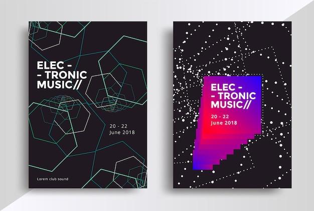 Projekt plakatów z muzyką elektroniczną ulotka dźwiękowa z abstrakcyjnymi geometrycznymi kształtami linii