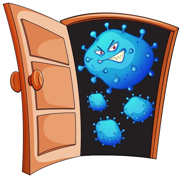 Projekt plakatu dla motywu koronawirusa z komórkami wirusa przy drzwiach