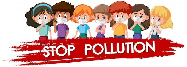 Projekt plakatu dla zatrzymania zanieczyszczenia dzieci noszących maskę