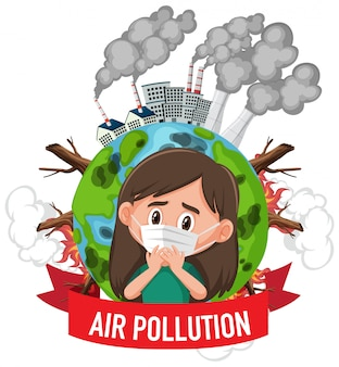 Projekt plakatu dla zatrzymania zanieczyszczenia z dziewczyną noszącą maskę