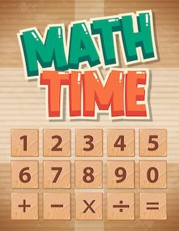 Projekt plakatu do matematyki z cyframi i znakiem