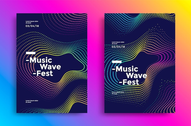 Projekt plakatu fala muzyki. ulotka dźwiękowa z abstrakcyjnymi falami gradientowymi.