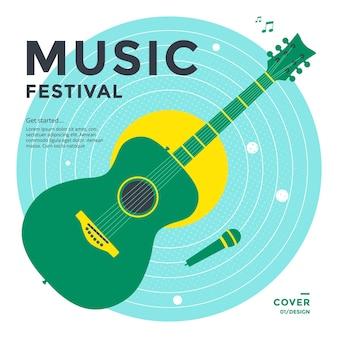 Projekt plakatu festiwalu muzycznego zielona gitara z mikrofonem na niebieskim talerzu wektorowa okładka muzyczna