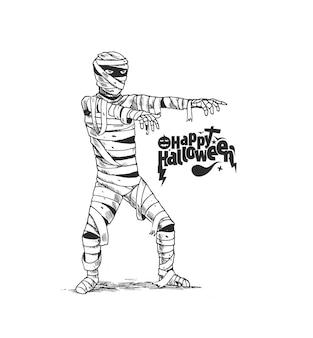 Projekt plakatu halloween z mumia kostium zombie, ręcznie rysowane szkic tło wektor.