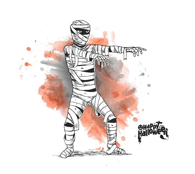 Projekt plakatu halloween z mumią kostium zombie, ręcznie rysowane szkic tło wektor.