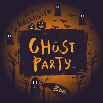Projekt plakatu happy halloween z tradycyjnymi symbolami i ręcznie rysowane napis ghost party. ilustracja wektorowa może służyć do tapety, strony internetowej, kartki świątecznej, projektu zaproszenia.