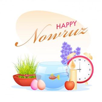 Projekt plakatu happy nowruz celebration z misą ze złotą rybką, budzikiem, semeni (trawa), jabłkiem, jajkami, podświetlaną świecą i hiacyntem na białym tle.