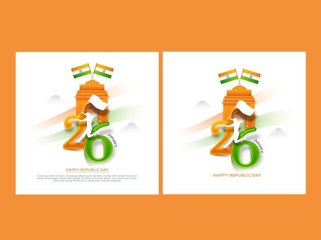 Projekt plakatu happy republic day w dwóch opcjach
